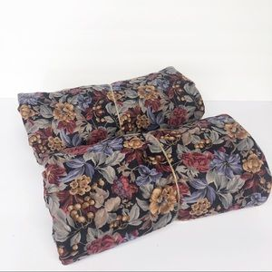 Vintage Black Floral Fabric Material 7 Yards